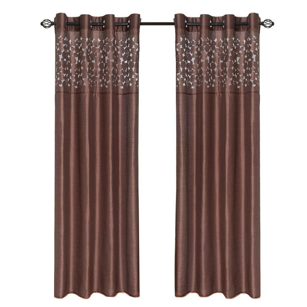 Chocolate Karla Laser-Cut Grommet Curtain Panel, 95 in. Length