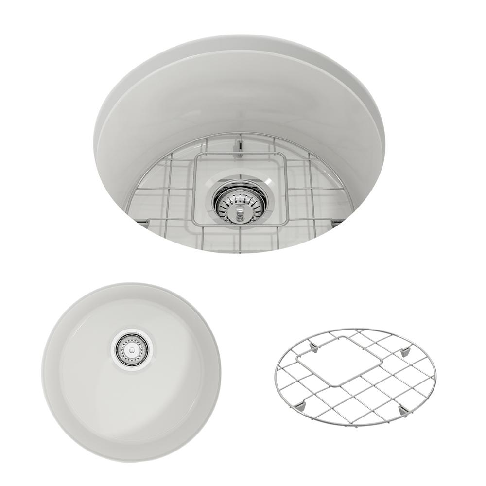 BOCCHI Sotto Undermount Fireclay 18.5 in. Single Bowl Round Kitchen Sink  with Bottom Grid and Strainer in White