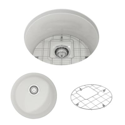 Sotto Undermount Fireclay 18.5 in. Single Bowl Round Kitchen Sink with Bottom Grid and Strainer in White
