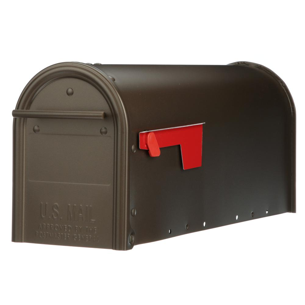 Post Mount Mailbox Black Nickel Accents Outdoor Decor Galvanized Steel With Flag