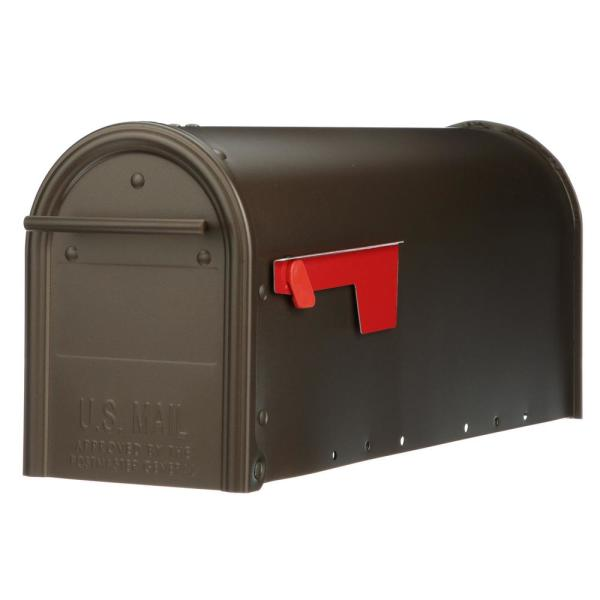 Franklin Medium, Steel, Post Mount Mailbox, Bronze w/Brass Finish