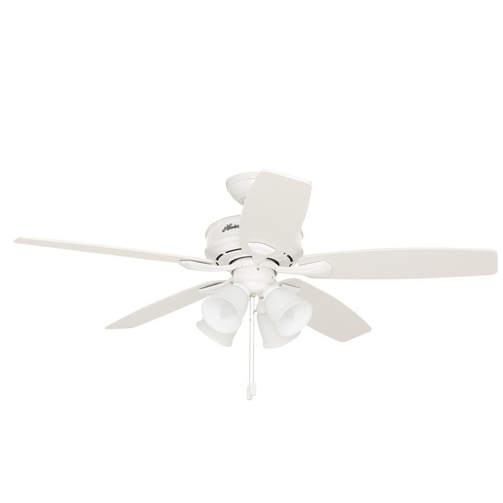 White hunter ceiling fans hunter outdoor ceiling fans white h white hunter ceiling fans hunter belmor 52 in indoor white ceiling fan with light kit aloadofball Image collections
