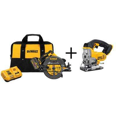 FLEXVOLT 60-Volt Lithium-Ion Cordless Brushless 7-1/4 in. Circular Saw Kit with Bonus 20-Volt Max Jig Saw
