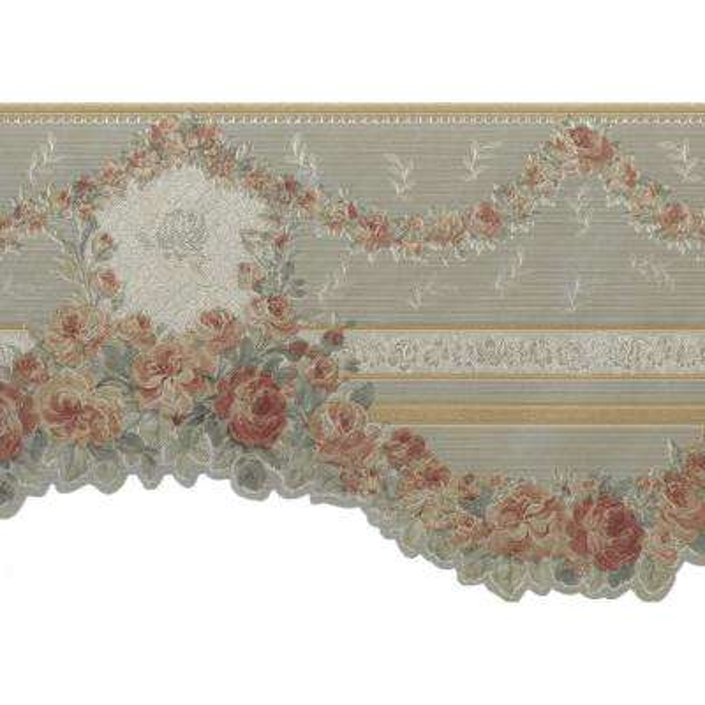 Falkirk Brin Gold, Green, Pink Roses Garlands Victorian Scalloped Prepasted Wallpaper Border