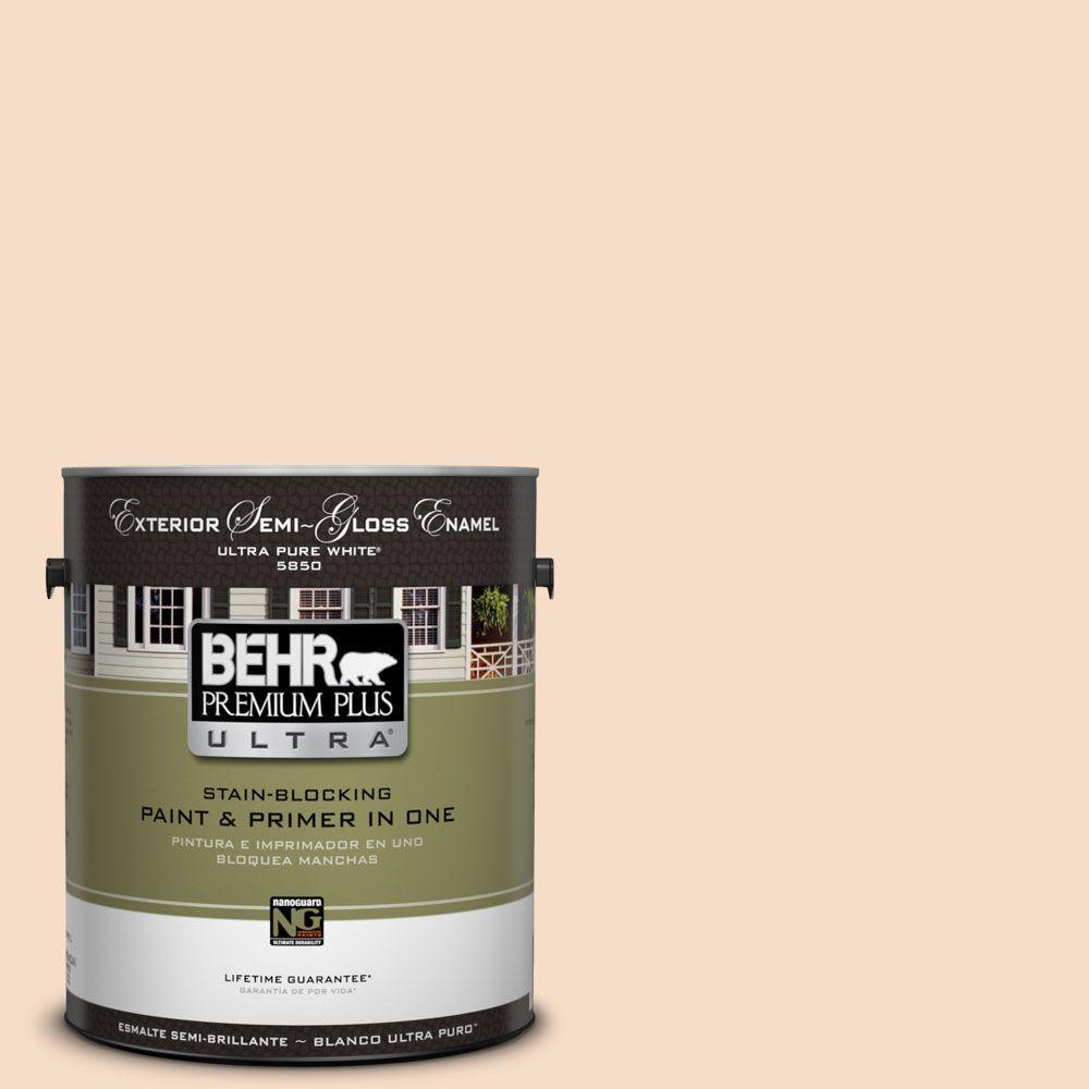 BEHR Premium Plus Ultra 1-gal. #HDC-SP14-3 Faint Peach Semi-Gloss Enamel Exterior Paint