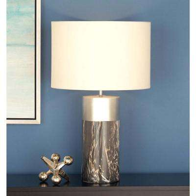 24 in. Modern Gray and Silver Ceramic Table Lamp
