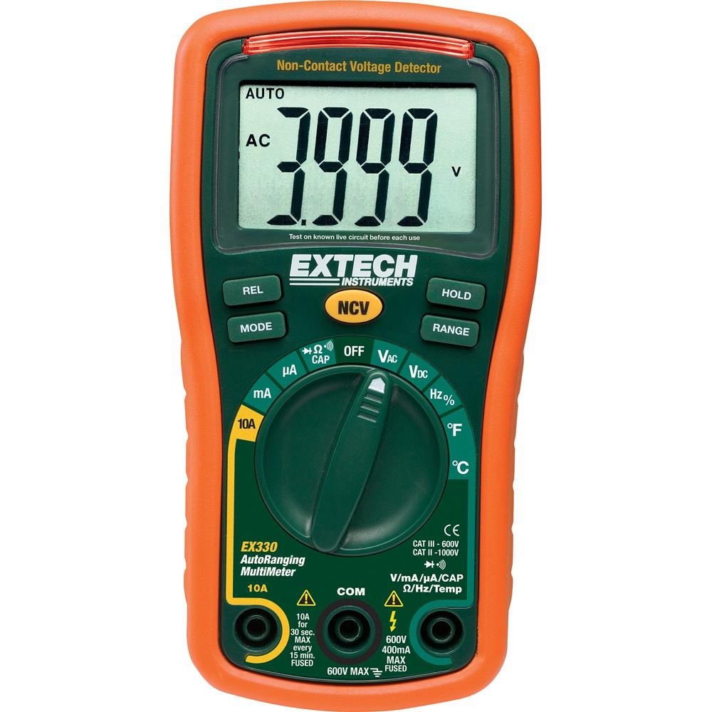 Extech Instruments Autoranging Mini Multimeter with Built-In Thermometer, Type K Remote Probe and NIST