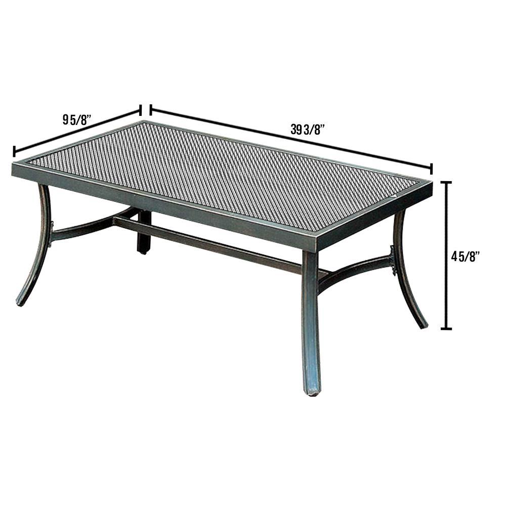 Bonquesha 40 in. Black Medium Rectangle Metal Coffee Table
