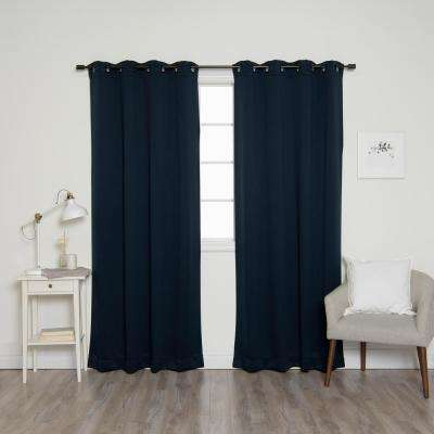 84 in. L Onyx Grommet Blackout Curtains in Navy (2-Pack)