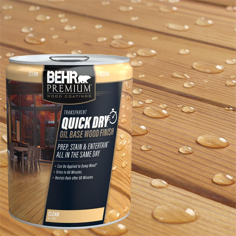 BEHR Premium 5 gal. Transparent Quick Dry Oil Base Wood Finish Clear Exterior Stain