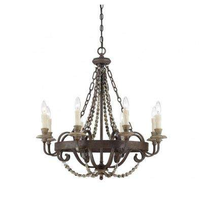 Empire brown chandeliers lighting the home depot lewisian 8 light fossil stone chandelier aloadofball Gallery