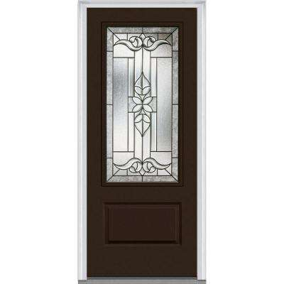 36 in. x 80 in. Cadence Right-Hand 3/4-Lite Decorative 1-Panel Classic Painted Fiberglass Smooth Prehung Front Door
