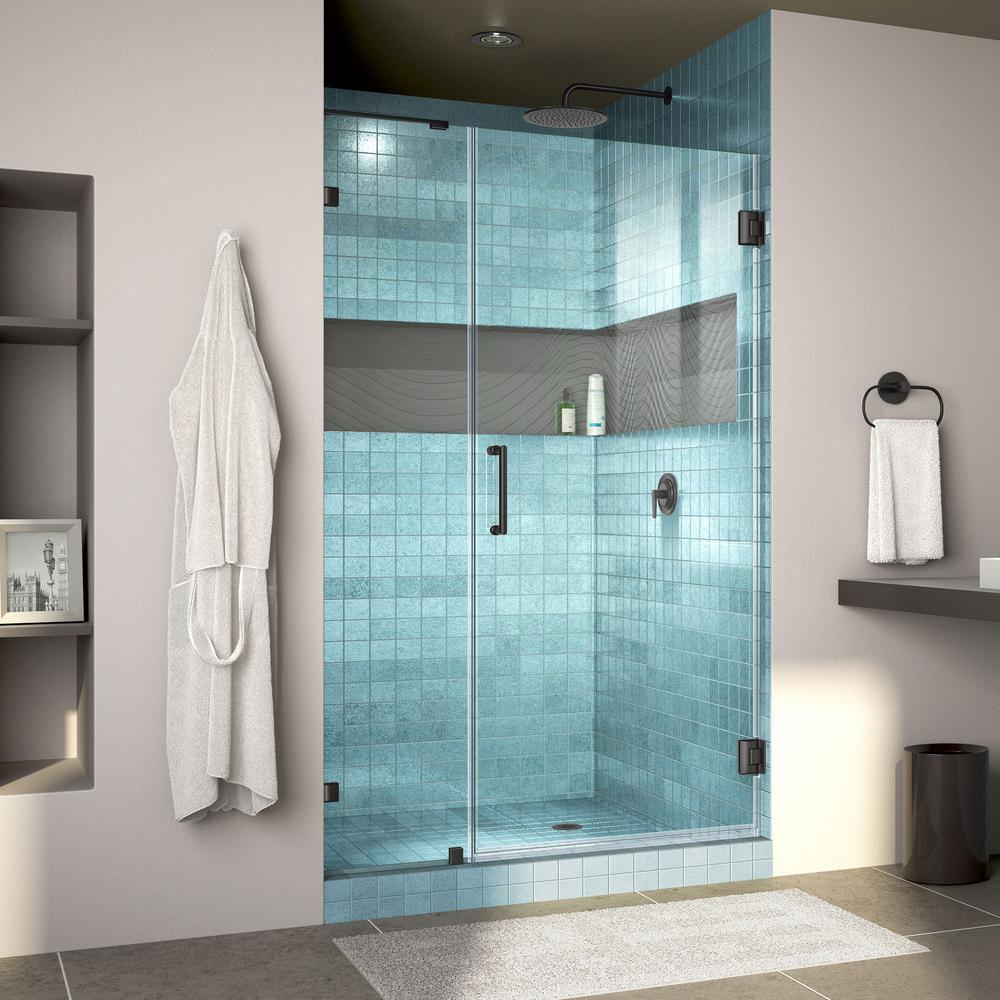 DreamLine Unidoor Lux 43 in. x 72 in. Frameless Hinged Shower Door in Satin Black