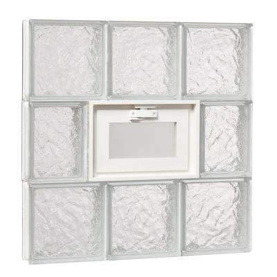 23.25 in. x 23.25 in. x 3.125 in. Wave Pattern Glass Block Masonry Window with Vent