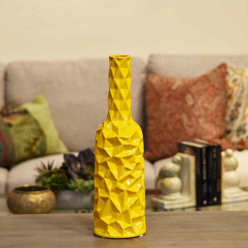 Yellow Gloss Ceramic Decorative Vase