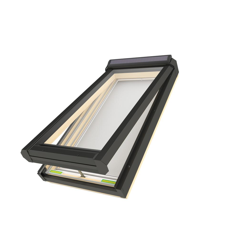 Fakro FVS 46-1/2 in. x 45-1/2 in. Solar Powered Venting Deck-Mounted Skylight with Laminated Low-E Glass