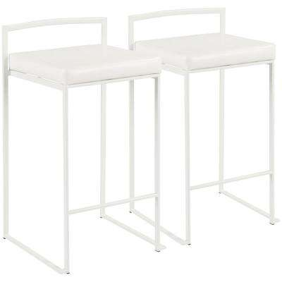 Fuji 26 in. White Stackable Counter Stool with White Faux Leather Cushion (Set of 2)