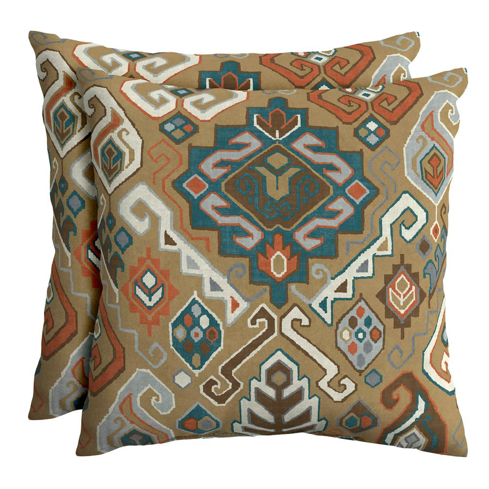 Hampton Bay Southwest Toffee 18 In Square Outdoor Throw Pillow 2