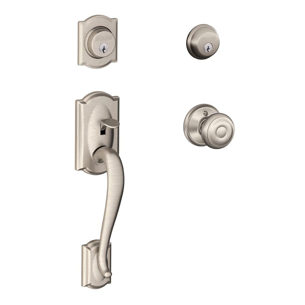 Camelot Double Cylinder Satin Nickel Handleset With Georgian Interior Knob