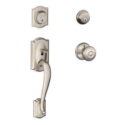 Camelot Satin Nickel Double Cylinder Deadbolt with Georgian Knob Door Handleset