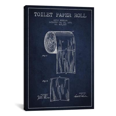 """""""Toilet Paper Navy Blue Patent Blueprint"""" by Aged Pixel Canvas Wall Art"""