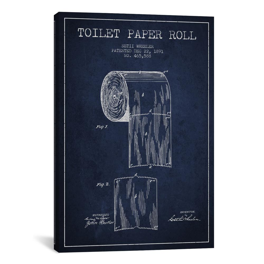 Icanvas Toilet Paper Navy Blue Patent Blueprint By Aged Pixel Canvas Wall Art Adp255 1pc3 26x18 The Home Depot