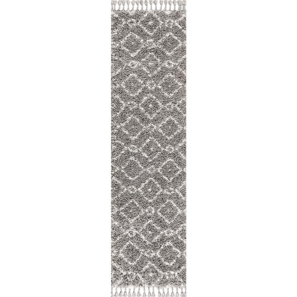 Mercer Shag Plush Tassel Moroccan Diamond Grey/Cream 2 ft. x 8 ft. Runner Rug