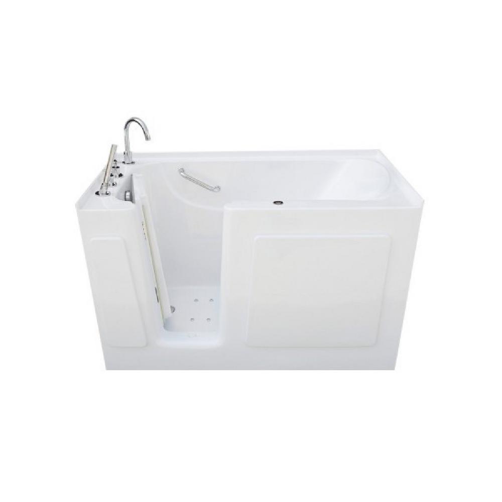 4.5 ft. Left Drain Walk-In Air Bath Tub in White