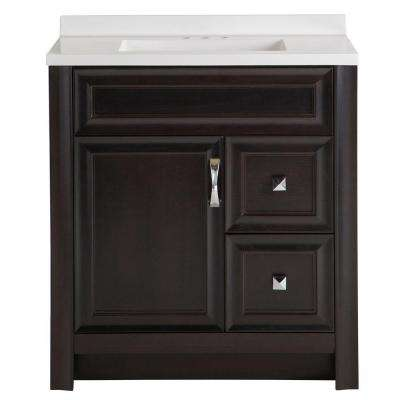 Candlesby 30-1/2 in. W x 18-3/4 in. D Bath Vanity in Charcoal with AB Vanity Top in White