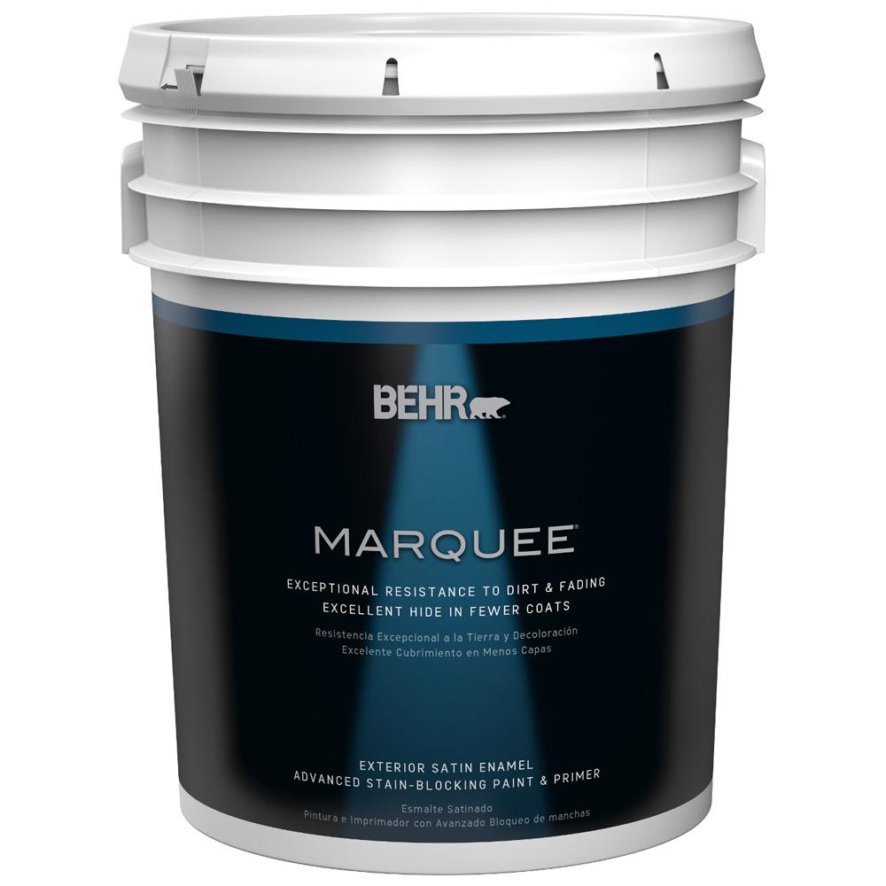 Behr marquee 5 gal medium base satin enamel exterior for Exterior paint satin 5 gal