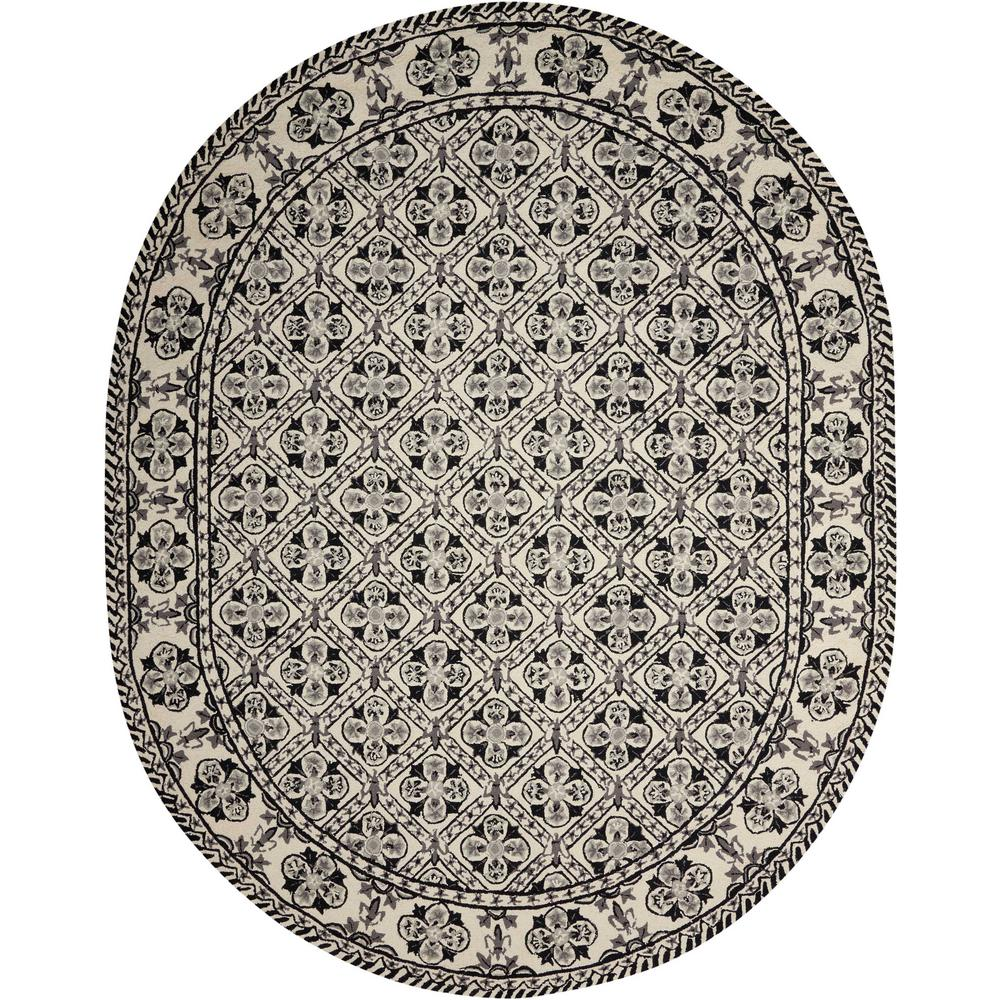 Nourison Country Heritage Black White 8 Ft X 10 Oval Area