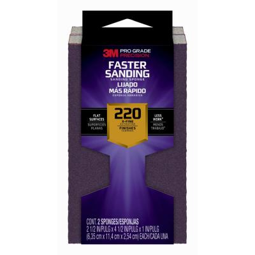 Pro Grade Precision Faster Sanding Sanding Block Sponge 2pk, 2.5in x 4.5in x 1in, 220 grit, 2 each/pack
