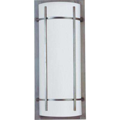 Luna 9 in. W 2-Light Brushed Metal Outdoor Wall Lantern Sconce