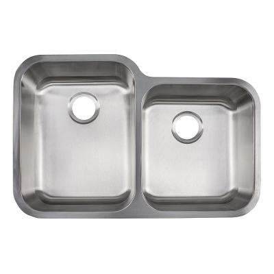 Collection Undermount Stainless Steel 33 in. 60/40 Double Bowl Kitchen Sink in Satin Stainless Steel