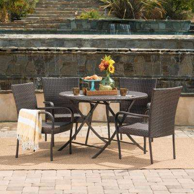 Kenley Multi-Brown 5-Piece Wicker Round Outdoor Dining Set with Foldable Table and Stacking Chairs