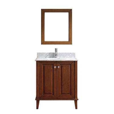 Lily 30 in. Vanity in Classic Cherry with Marble Vanity Top in Classic Cherry and Mirror