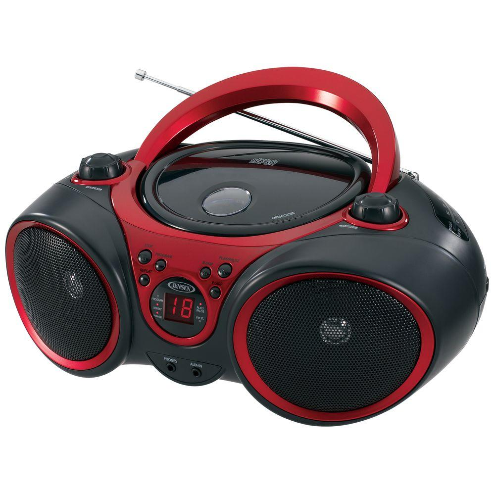 jensen portable stereo cd player with am fm stereo radio cd 490 the home depot. Black Bedroom Furniture Sets. Home Design Ideas