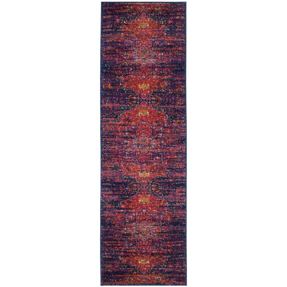 Evoke Blue/Fuchsia 2 ft. x 9 ft. Runner Rug