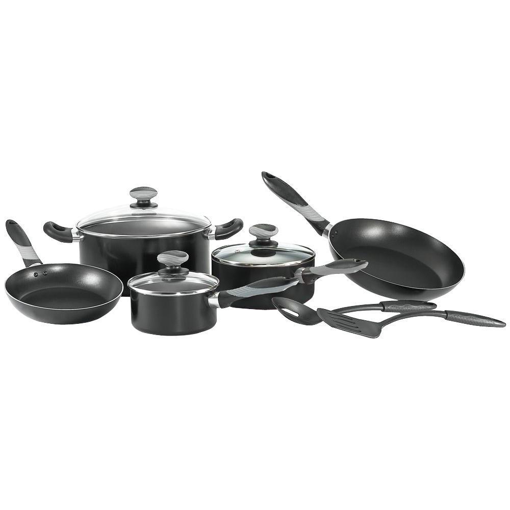 Mirro Get-A-Grip 10-Piece Black Cookware Set with Lids