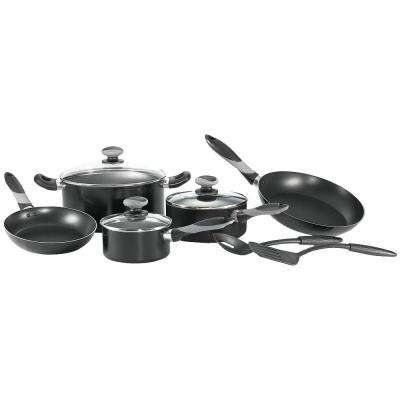 Get-A-Grip 10-Piece Black Cookware Set with Lids
