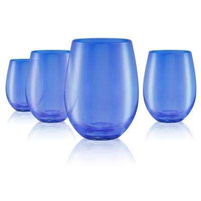 16 oz. Stemless Wine Glasses in Blue (Set of 4)
