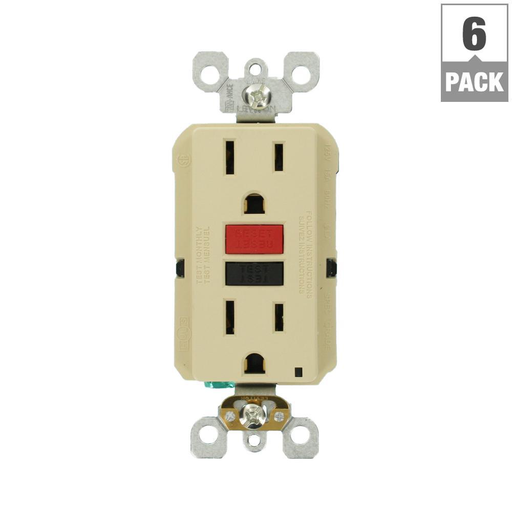 15 Amp 125-Volt Duplex Self-Test Slim GFCI Outlet, Ivory (6-Pack)