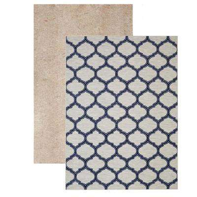 Glenn Navy Set (Set Includes: 5 ft. x 8 ft. Area Rug and Rug Pad)