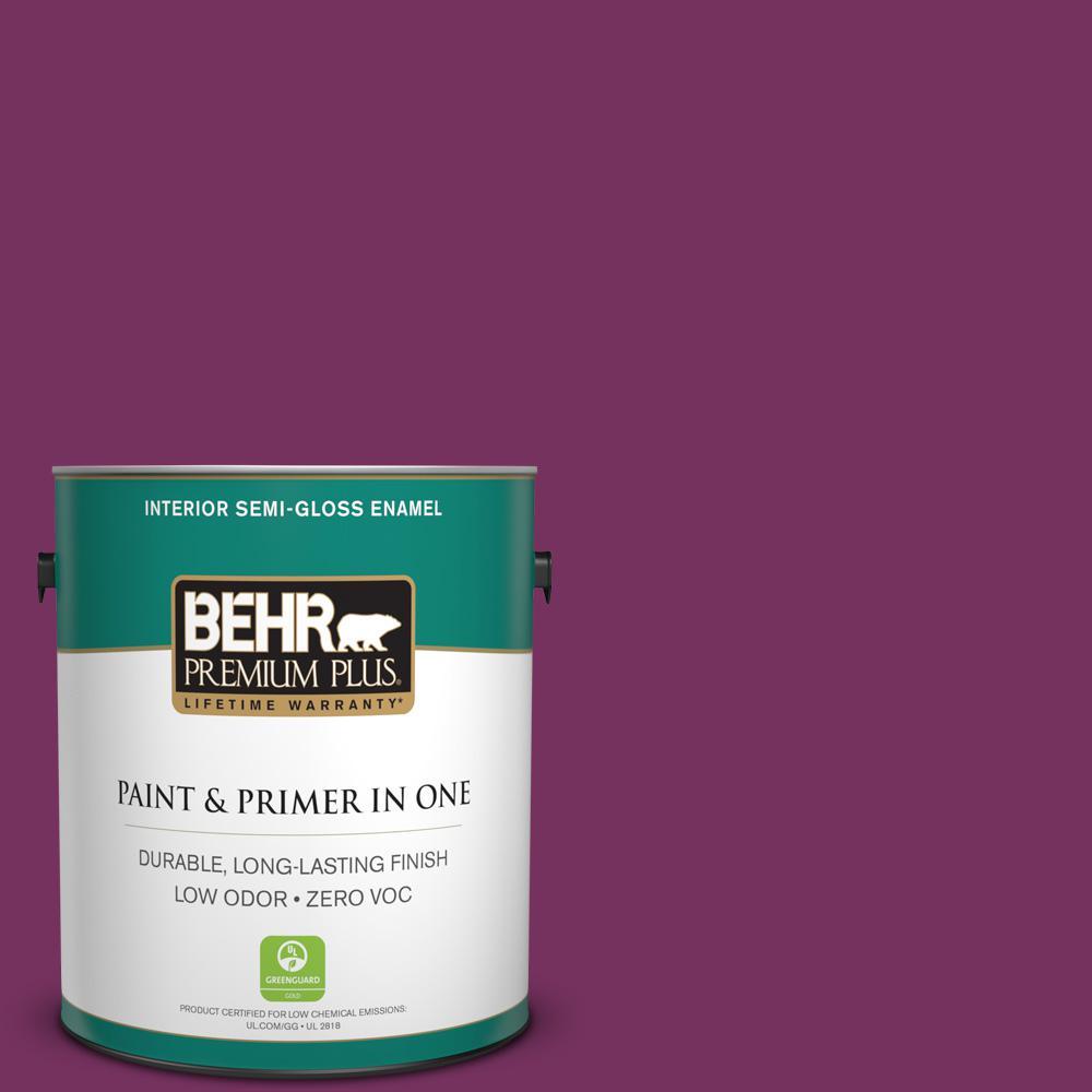 1-gal. #690B-7 Plum Jam Zero VOC Semi-Gloss Enamel Interior Paint