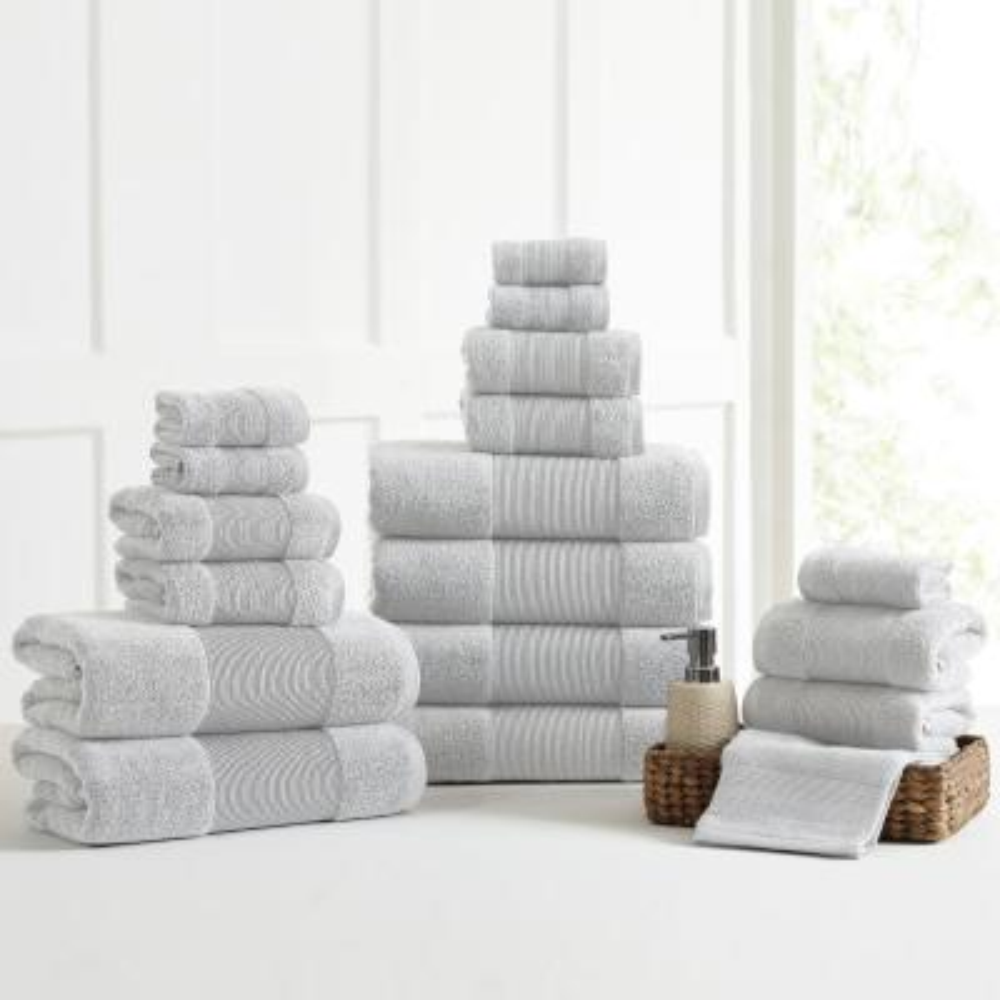 Air Cloud 18-Piece Soft Gray Towel Set