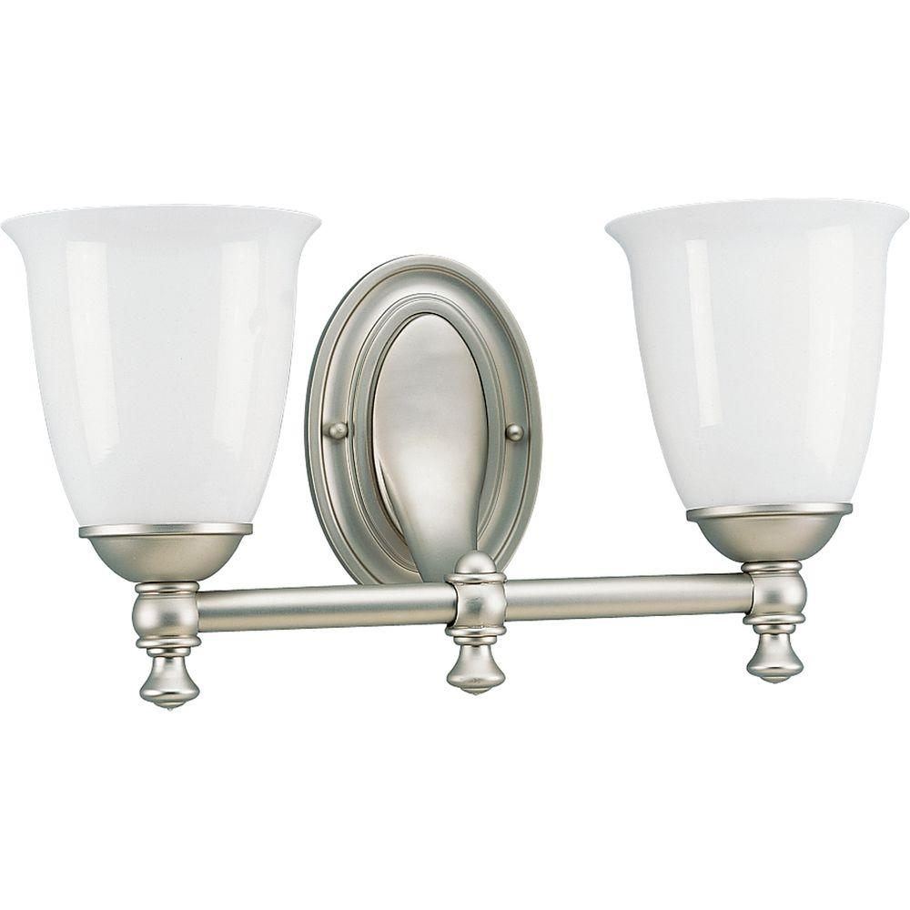 Progress Lighting Victorian Collection Pearl Nickel 2-light Vanity Fixture-DISCONTINUED