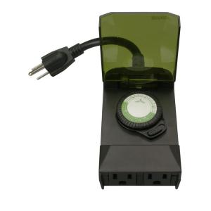 Woods 24-Hour Outdoor Mechanical Light Timer 3 Conductor - Black by Woods