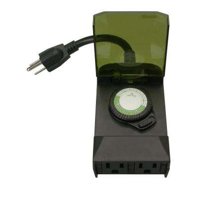24-Hour Outdoor Mechanical Light Timer 3 Conductor - Black