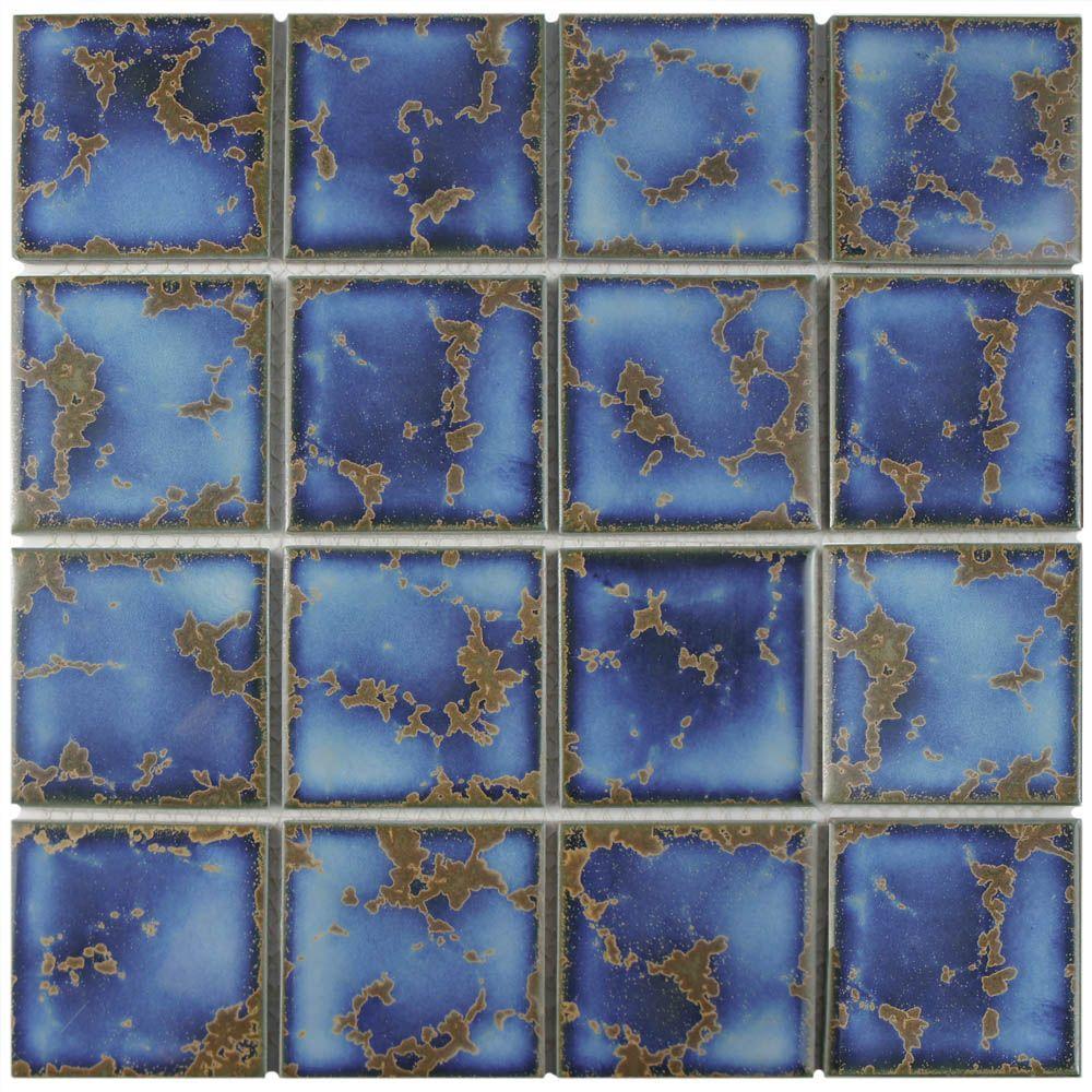 Channel Terra Azure Mega Square 12-1/2 in. x 12-1/2 in. x 5 mm Porcelain Mosaic Tile