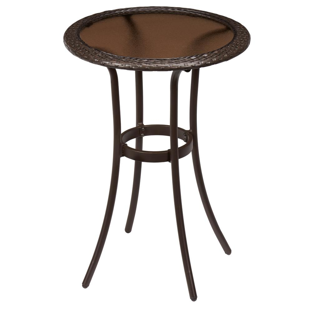 Hampton Bay Mix And Match Wicker Balcony Height Outdoor Bistro Table